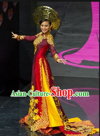 Vietnam Costume and Headwear Complete Set for Women