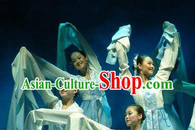 White Long Sleeves Dance Costumes Complete Set for Women
