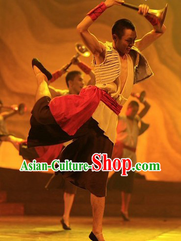 Huang He Yellow River Dance Costumes Complete Set for Men