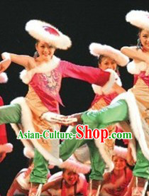 Stage Performance Tibet Dance Costumes and Hat for Women
