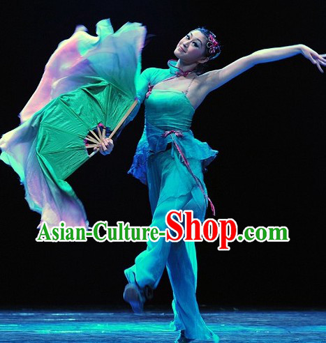 Stage Performance Silk Fan Dance Costumes for Women