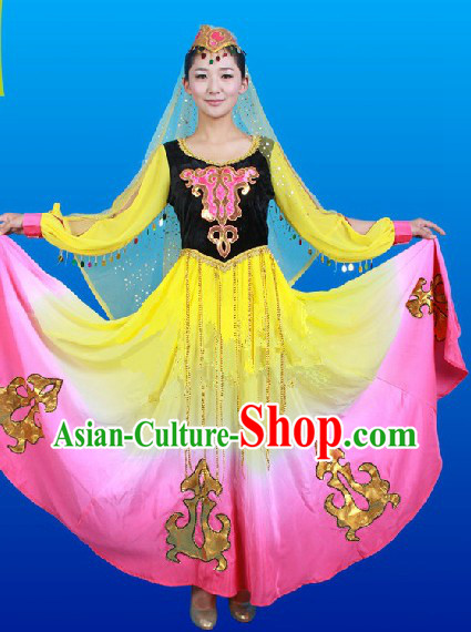 Traditional Chinese Xinjiang Ethnic Clothes and Hat Complete Set for Women