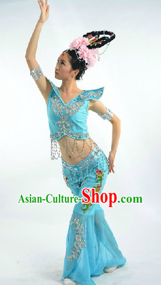 Blue Dunhuang Fei Tian Classic Dance Suit and Headdress Complete Set for Women
