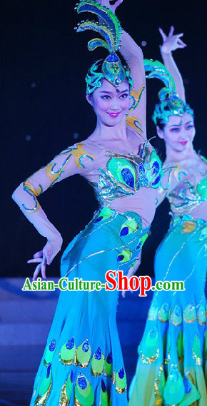 China Peacock Dance Outfit and Headwear Complete Set for Women