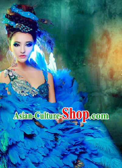 Blue Peacock Feather Dance Costumes and Headwear Complete Set