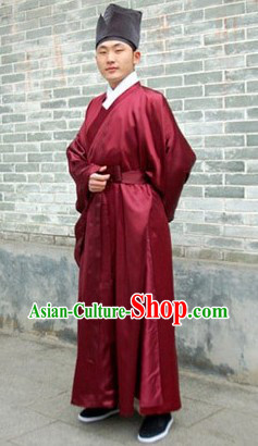 Chinese Traditional Hanfu Daopao Robe and Hat for Men