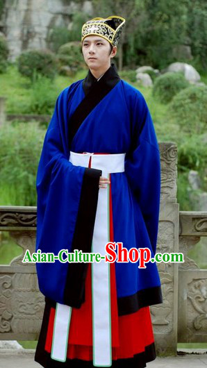 Blue Traditional Ancient Chinese Hanfu Clothing and Hat for Men