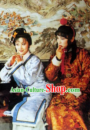 A Dream in Red Mansions Lin Daiyu and Jia Baoyu Costumes and Hair Accessories Complete Sets