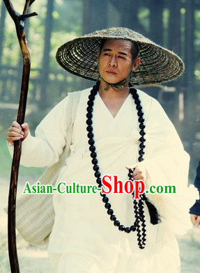 Ancient Chinese White Monk Robe and Shoes for Men