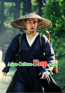 Bai She Legend Deep Blue Monk Robe and Bamboo Hat for Men