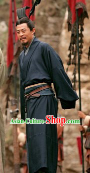 Ancient Chinese Three Kingdoms Lu Su Costume and Coronet for Men