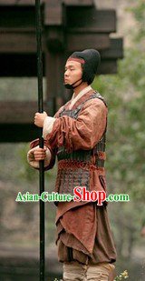 Ancient Chinese Three Kingdoms Solider Costume and Coronet for Men