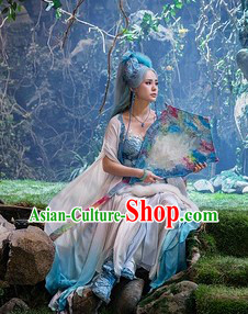 Ancient Chinese White Fairy Costumes and Long Wig Complete Set