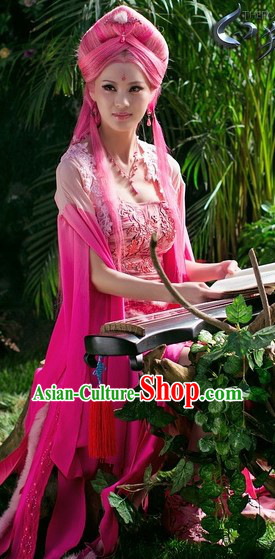 Ancient Chinese Pink Fairy Costumes and Long Wig Complete Set