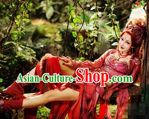 Ancient Chinese Red Fairy Costumes Complete Set