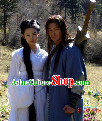 Ancient Chinese Swordsman and Dragon Lady Couple Clothing