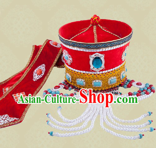 Ancient Chinese Mongolian Princess Wedding Hat for Brides