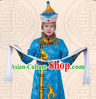 Traditional Chinese Blue Mongolian Clothing and Hat for Women