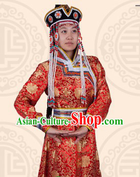 Traditional Chinese Red Ethnic Mongolian Long Robe for Women