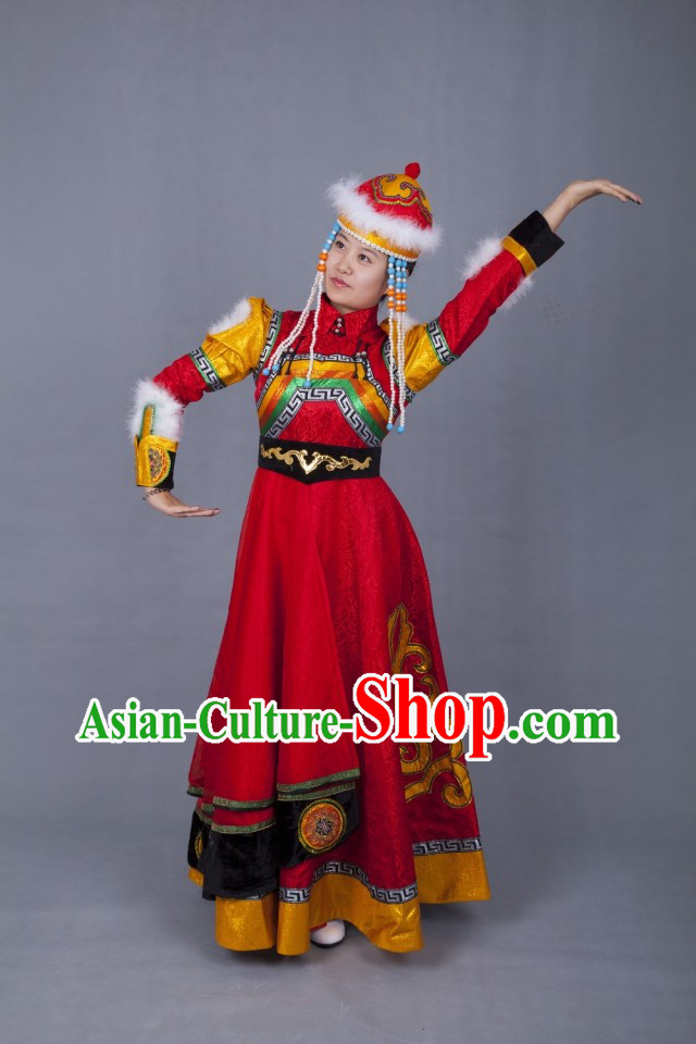 Traditional Chinese Ethnic Mongolian Wedding Dress and Hat Complete Set for Women