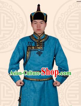 Traditional Chinese Mongolian Blue Robe and Hat Complete Set for Men