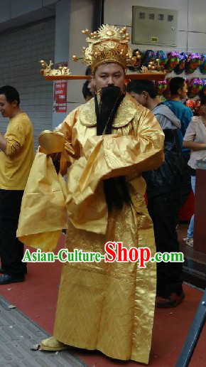 Traditional Chinese Golden Cai Shen Ye Costumes and Hat Complete Set