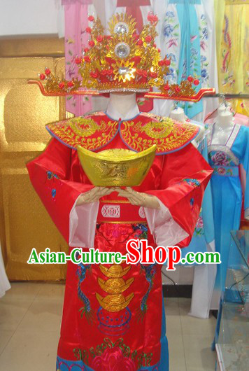 Traditional Chinese Red and Golden Cai Shen Outfit and Hat Complete Set