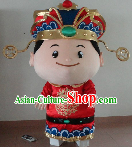 Traditional Chinese Red Cai Shen Suits and Hat Complete Set