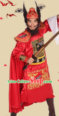 Traditional Ancient Chinese Zhong Kui Costumes and Headwear Complete Set