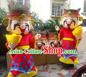 Traditional Chinese Cai Shen Ye Cartoon Mascot Costume for Men