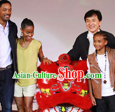 Big Ceremony and Opening Celebration Red Lion Dance Costumes Complete Set