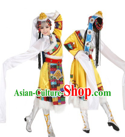 Tibetan Clothes and Headdress Complete Set for Women