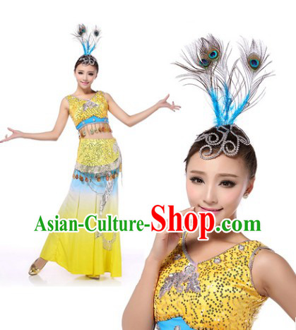 Professional Chinese Yunnan Peacock Dance Costumes and Headwear Complete Set for Women