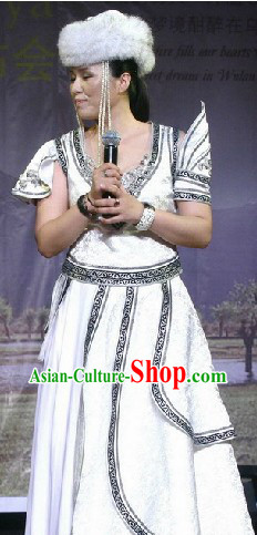 Traditional Chinese Mongolian Ceremonial Clothing and Hat Complete Set for Women
