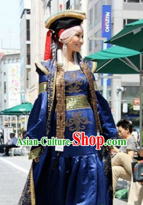 Chinese Traditional Mongolian Clothing and Hat for Women