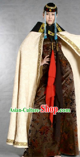 Chinese Traditional Mongolian Garment and Hat for Women