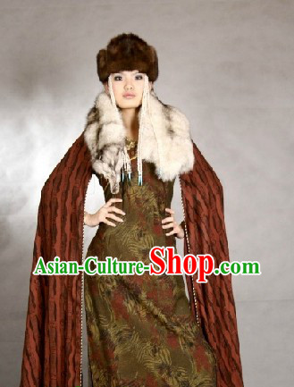 Traditional Mongolian Ceremony Dress and Hat Complete Set for Women