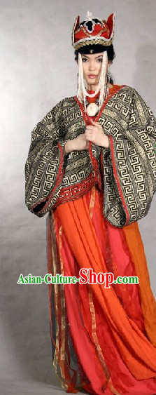Traditional Mongolian Robe and Hat Complete Set for Women