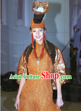 Traditional Mongolian Noblewoman Garment and Hat Complete Set