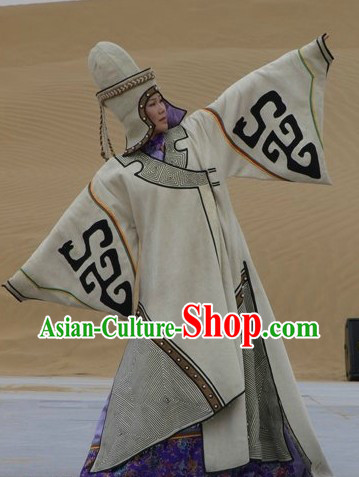 Ancient Chinese Traditional Mongolian Robe and Hat