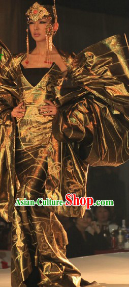 Traditional Mongolian Queen Clothing and Hat Complete Set