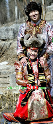Traditional Mongolian Emperor and Empress Clothes and Hats Complete Set