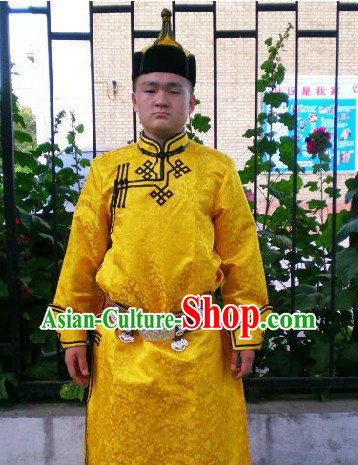 Traditional Mongolian Daily Dresses and Hat Complete Set for Men