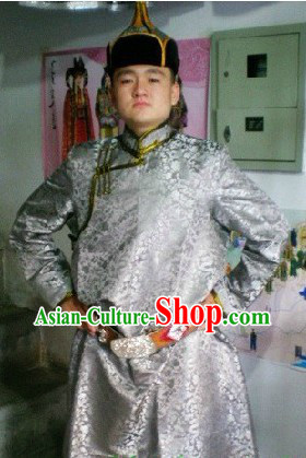 Traditional Mongolian Daily Outfit and Hat Complete Set for Men