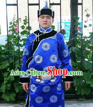 Traditional Mongolian Daily Suit and Hat Complete Set for Men