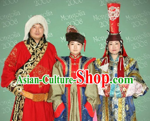 Traditional Mongolian Mother Father and Son Clothing Three Complete Sets