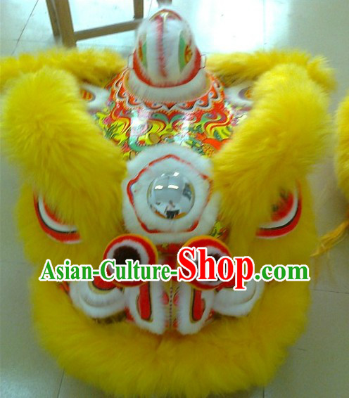 Yellow Laser Festival and Opening Handmade Fut San Lion Dance Equipment Complete Set