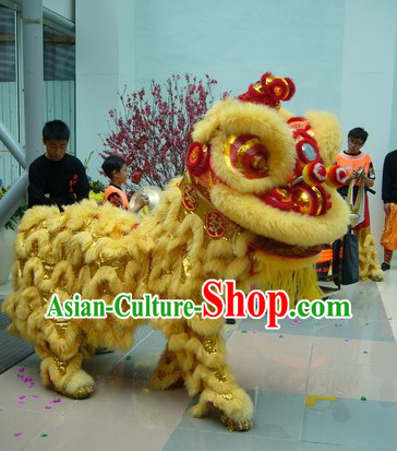Beige Natural Sheep Fur Hok San Lion Dance Outfit Complete Set