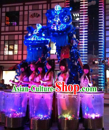 Blue Color LED Lights Classic Lion Dance Costumes Complete Set