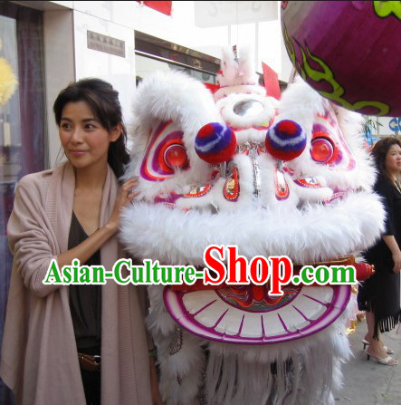 Supreme Cute Pure White HOK SAN Lion Dance Costumes Complete Set